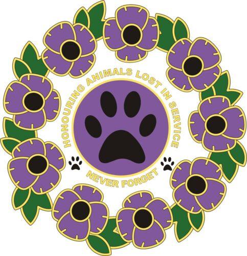 Remembrance Sunday Purple Poppy et couronne Autocollant Voiture Animaux-en guerre