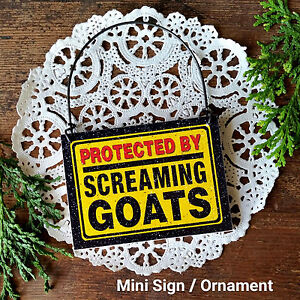 Gift-Ornament-Mini-Wood-Sign-PROTECTED-by-Screaming-Goats-Cubicle-Gag-Usa-New