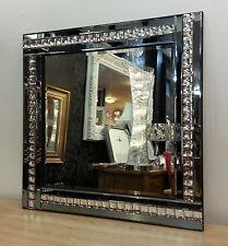 NUOVO Moderno Art deco acrilico cristallo vetro design BISELLATI SPECCHIO 60X60CM affumicato