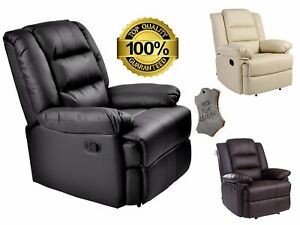 Image Is Loading MANUAL LEATHER RECLINER ARMCHAIR FABRIC CHAIR  FURNITURE LOUNGE