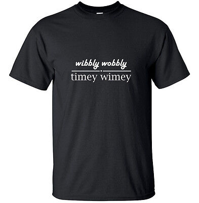 Wibbly Wobbly Timey Wimey - Geek Adult T-Shirt Black Doctor Who