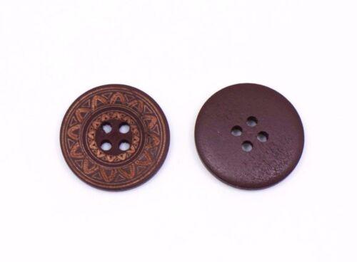 Aztec Bois Bouton 25 mm 50pcs
