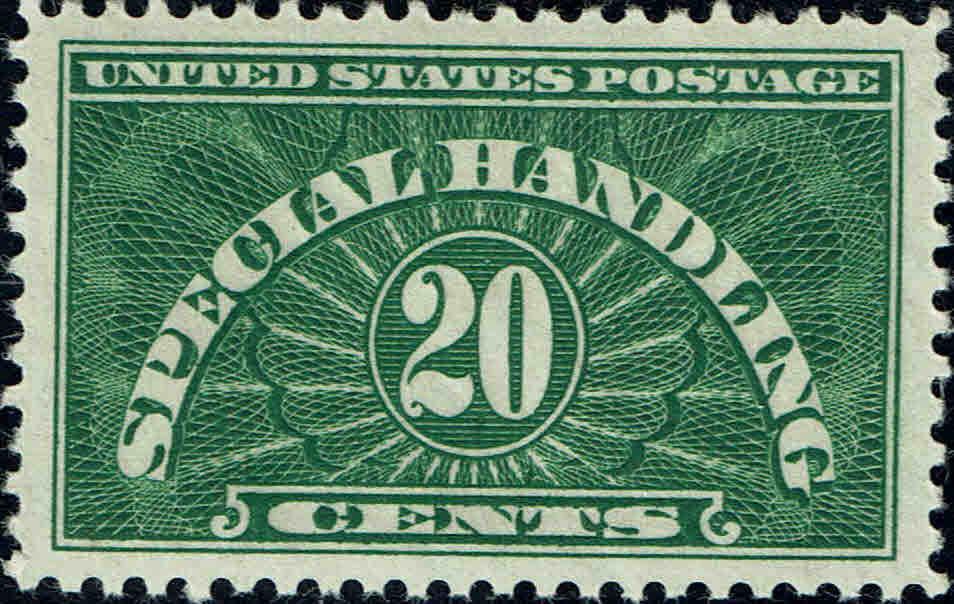 1928 20c Special Handling, Yellow Green Scott QE3 Mint