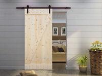 6.6ft Dark Coffee Sliding Barn Door Hardware Set W/38 Wide Solid Core Door Slab on sale