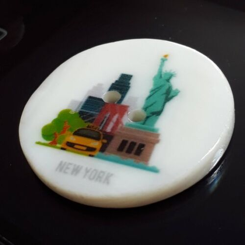 1pc New York Boutons Statue de la liberté SHELL 2 trous 30 mm SCRAPBOOKING B65045