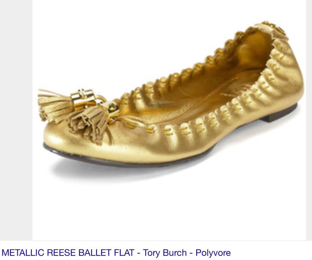Tory Burch gold Metallic Reese Ballet Flat with Tassel Detail Sz 5 M NEW NWOT