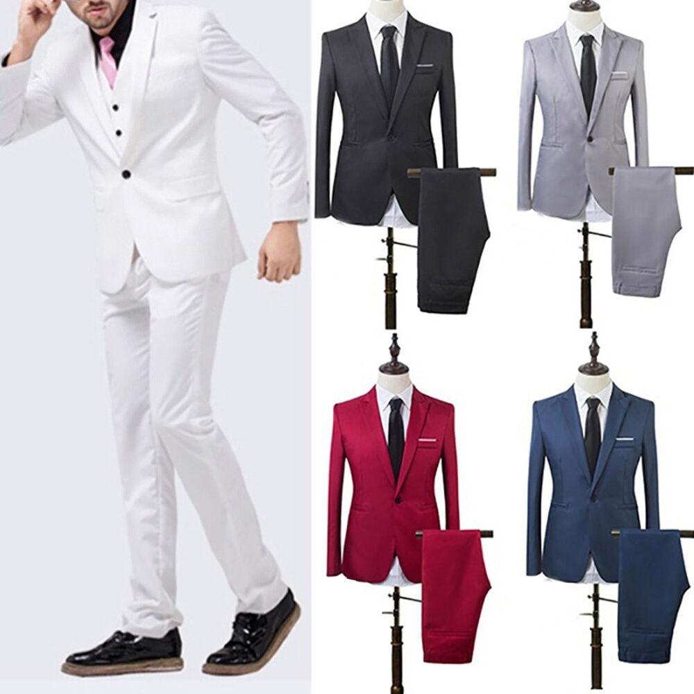 FT- Men's Wedding Groom Suit Slim Fit Jacket Tuxedo Pant Hot Formal Suit 2pcs Se Clothing, Shoes & Accessories
