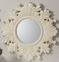 Regis Traditional Ornate Round Cream Vintage Wall Mirror - 26 (66cm) Diameter