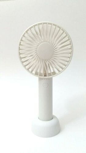 3 Speed Mode Mini Portable USB Rechargeable Handheld Air Cooling Fan w// stand