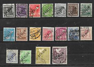 BERLIN  1949   SAMMLUNG  Mi.Nr. 1 - 19   SCHWARZAUFDRUCK    GESTEMPELT
