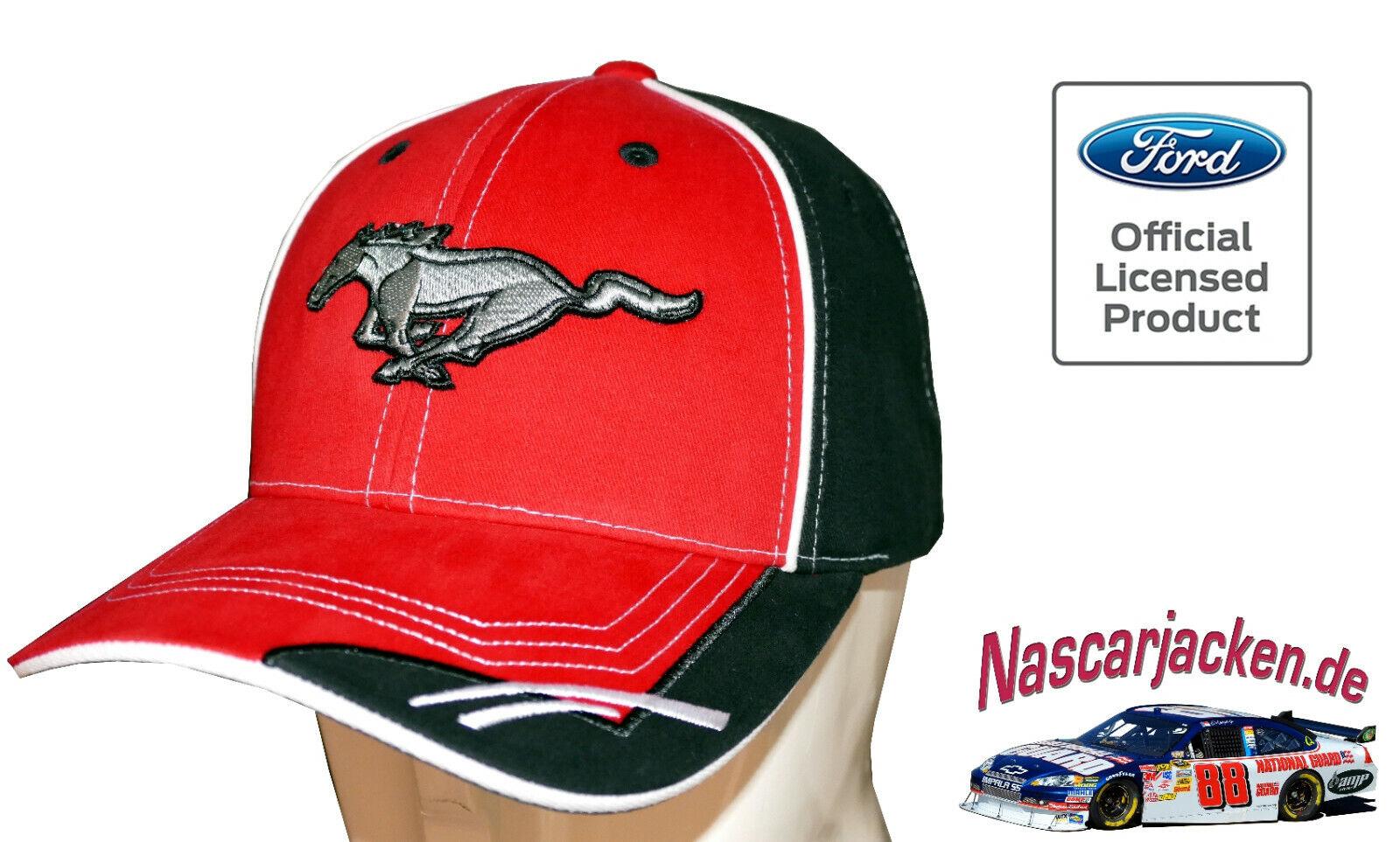 Ford Mustang Cap Pony, rot schwarz lizenziert, Basecap, Kappe, Blitzversand, NEU