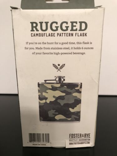 New Foster /& Rye Rugged Camouflage Pattern Flask W//funnel 6oz Retail$18