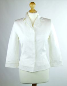 Womens-Ivory-Suit-Jacket-10-MNG-Linen-Regular-Hip-Length-Plain