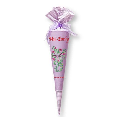 Schultüte aus Stoff 70 cm Schmetterling lila flieder mit Namen Einschulungsdatum