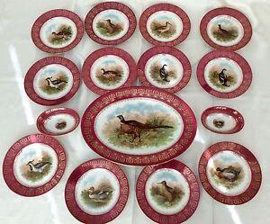 Antique Mz Austria Moritz Zdekauer Dinnerware Set Game Birds Plates