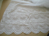 Designer White Lace Organza Embroidered Scalloped Fancy Curtains Bridal Wedding
