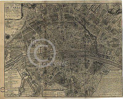 """1710 LARGE DETAILED FRENCH MAP PARIS   24"""" by 30"""""""