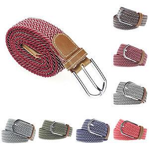 Fj-LC-Eg-da-UOMO-DONNA-di-Tela-Casual-Elastico-Cintura-Fibbia-in-Metallo