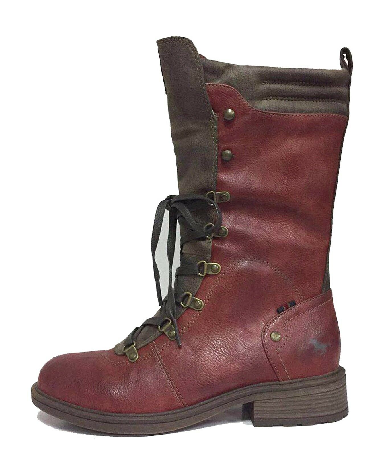 lace leather faux braun rot 1264 612 neu Mustang up heel 4 8