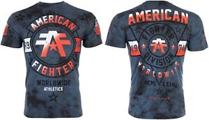 AMERICAN FIGHTER Mens T-Shirt SILVER LAKE Athletic NAVY CRYSTAL WASH Gym UFC $40