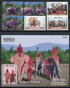 Laos 2008 éléphants Parle Festival 2050-2055 Bloc 204 Cachet Neuf Sans Charnière-afficher Le Titre D'origine