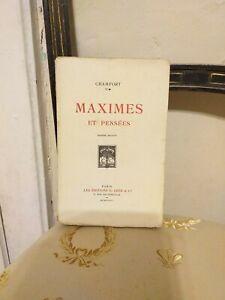 Chamfort : Maximes et Pensées – Crès & Cie – 1923 - BE