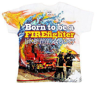 "DF Baby T-Shirt All Over Print /""Born to be a Firefighter like my Mummy/"" Fireman"