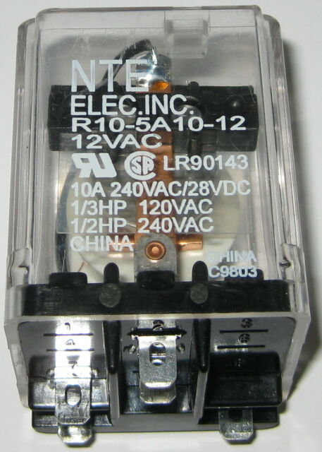 NTE Electronics R10-5A10-120B Series R10 General Purpose AC Relay Push to Test Button Inc. SPDT-NO Contact Arrangement 10 Amp 120 VAC