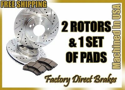 FRONT PREMIUM DRILLED /& SLOTTED PERFORMANCE BRAKE ROTORS /& CERAMIC PADS KIT EK