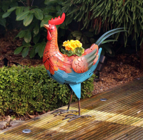 Rooster Bird Plant Pot Metal Garden Ornament Planter Flower Planter