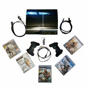 SONY PS3 40GB Fat Console (CECHH01) w/ 2 Controllers Ear Bud Mic & 5 Games EUC