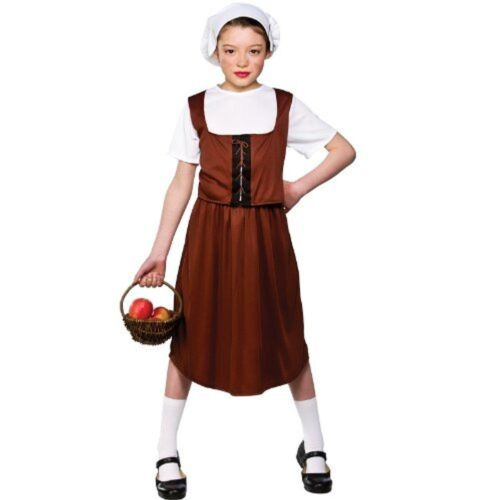 Medieval Tudor worker girl childrens fancy dress costume outfit School 5 6 7 3 4