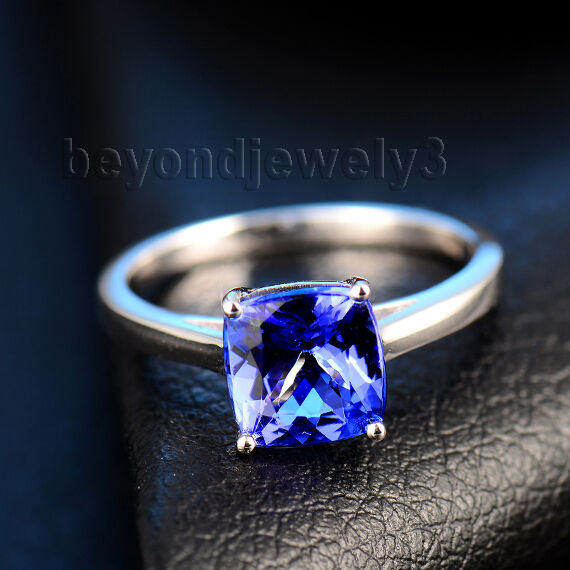 Real 18K White gold Engagement Wedding Solitaire Tanzanite Gemstone Fine Ring