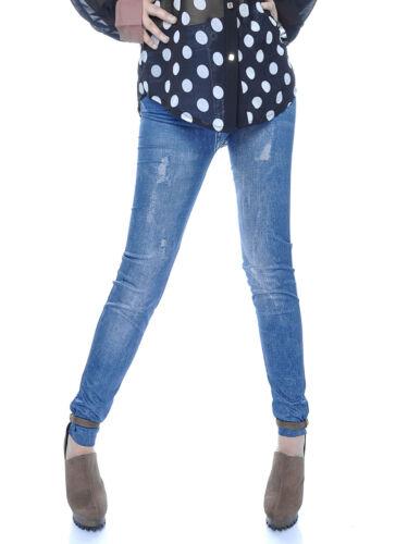 Women S//M Fit Faded Wash Blue Denim Like Slim Long Stretch Leggings
