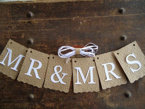 MR /& MRS Bunting Banner Flag Garland Embossed Brown White Wedding Photo Prop DIY