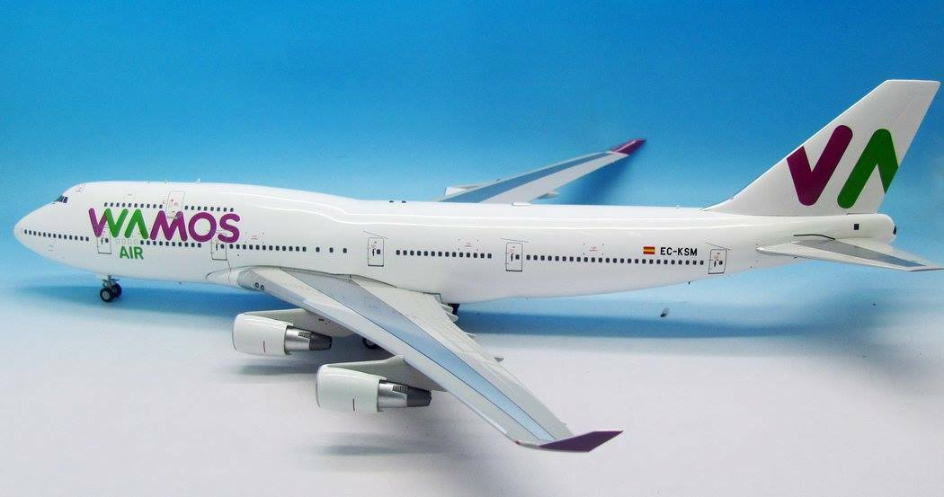 Jfox JF7474044 1/200 wamos AIR BOEING 747-400 CE-KSM con supporto