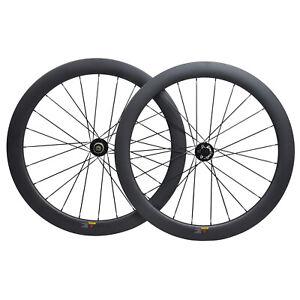700C Road Bike Carbon Wheelset Disc brake Clincher Tubeless  Floating Rotor 55mm