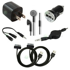 7 pc Kit Black USB Cable+Car+Home Wall Charger for Apple iPod Touch 1G 2G 3G 4G