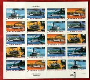 US SC #3091-3095b EFO: w/ Special Die Cutting Skip Riverboats Sheet of 20