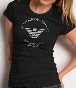 EMPORIO-ARMANI-WOMENS-BLACK-T-SHIRT-CASUAL-Tshirt-Size-S-M-SLIM-FIT