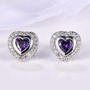 Mystical-Love-Heart-Purple-Amethyst-Gemstone-Silver-Woman-Stud-Hook-Earrings