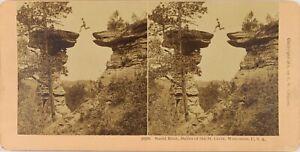USA-Wisconsin-Stand-Rock-Lastre-San-Croce-Foto-Stereo-Vintage-Albumina