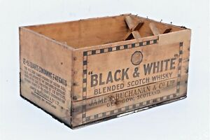 RARE-ANTIQUE-BLACK-amp-WHITE-WHISKY-WOODEN-SHIPPING-CRATE-BOX-17-034