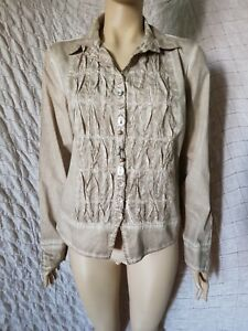 Elisa-Cavaletti-Club-washed-taupe-100-cotton-shirt-with-amazing-buttons-size-L