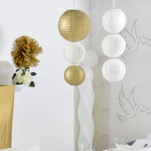 Laternen 30 cm 2 Stk weiß Papierlaternen Lampions Papierlampion Hochzeit