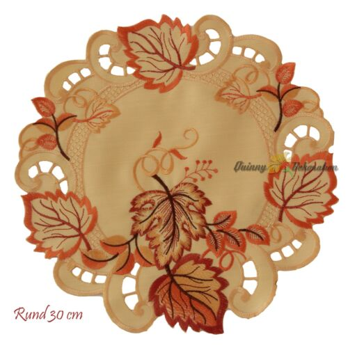 Autumn Leaf Doily Tablecloth tablerunner Orange Terracotta Gold Brown Embroidery