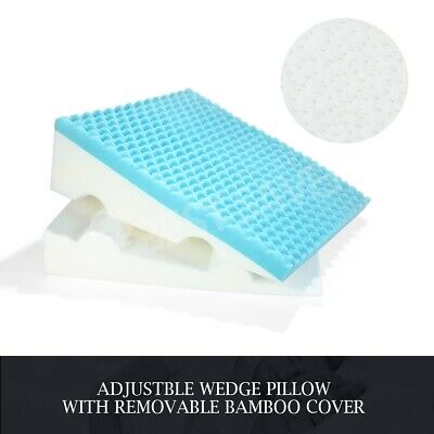 Cool Gel Memory Foam Wedge Pillow Sleep Adjustable Bed Cushion Lumbar Support