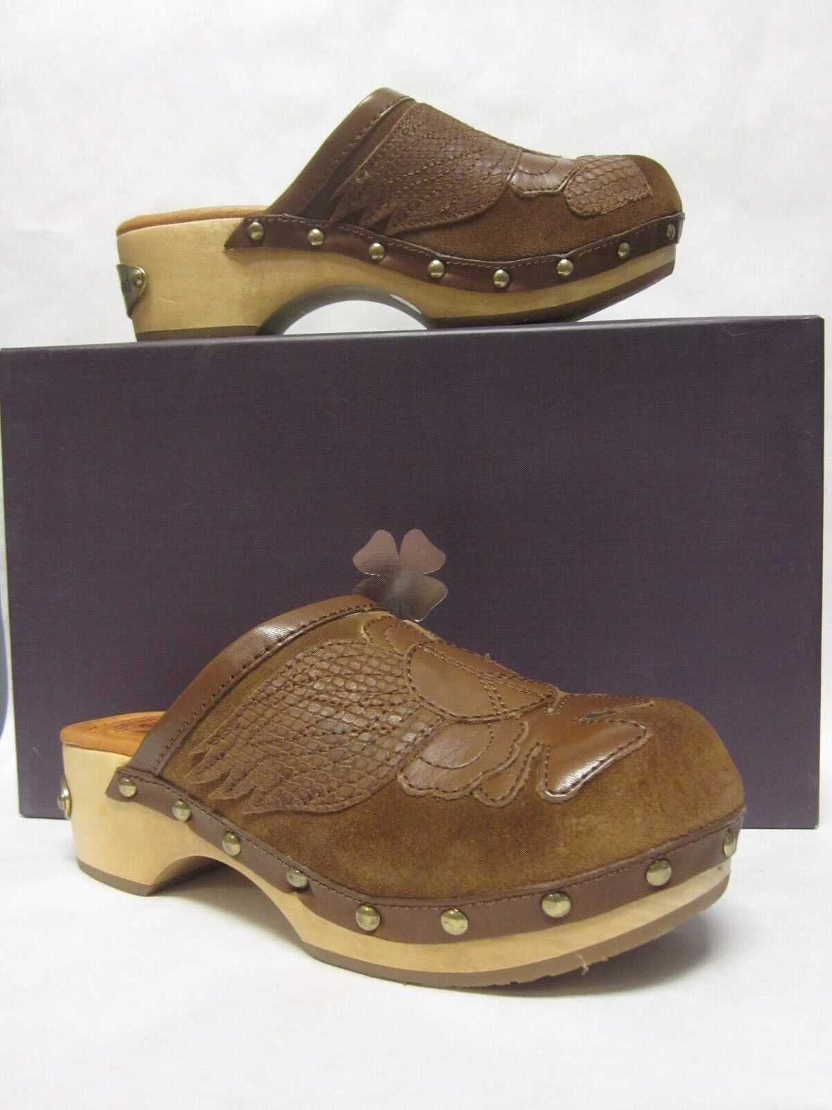 Lucky Lucky Lucky purplec Brown Oiled Suede platform wooden heel clog - size 5.5 3f0915