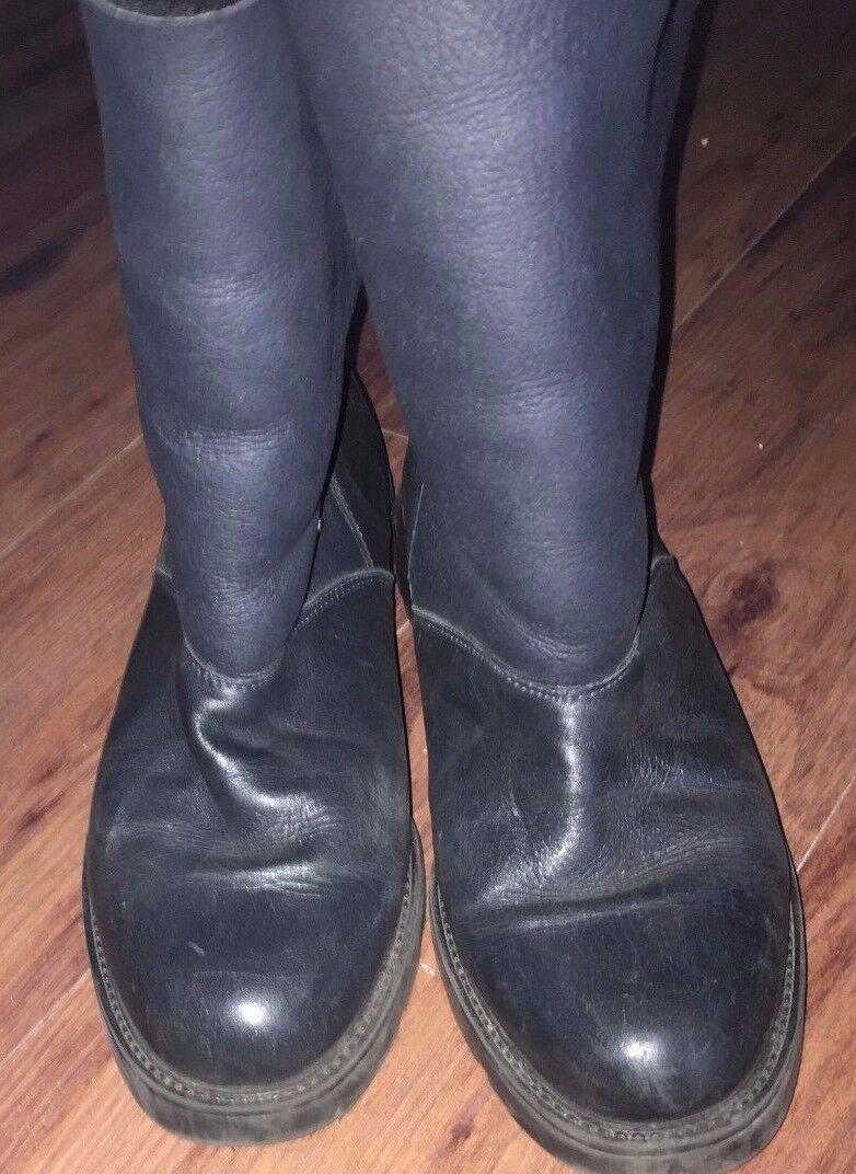 Canadienne Femmes Bottes 9.5 M en cuir noir doublées en polaire mi-mollet
