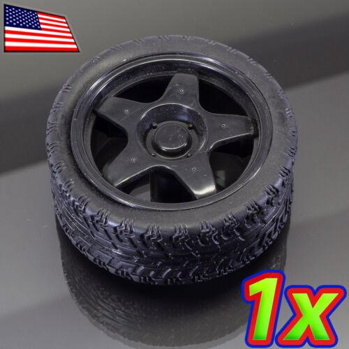 1x 2.5 inch Black Wheel for DC Gear Motors for Robots